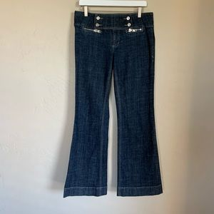 See Thru Soul wide leg flare jeans sailor buttons